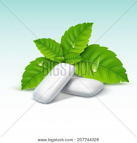 Vector chewing gum and green mint for fresh breath. Dental health background.