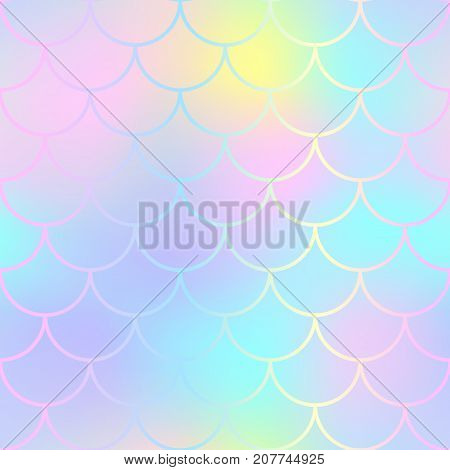 Fantastic fish skin pattern with scale ornament. Fishscale vector background. Pink mermaid tail texture. Magic mermaid seamless pattern. Marshmallow pastel backdrop. Candy color seamless pattern