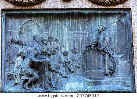 Giiordano Bruno Speaking Statue Campo de' Fiori Rome Italy. Bruno was tried as heretic heretic and burned at stake in Campo de' Fiori. Statue by Ferrari in 1889