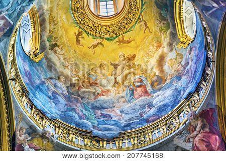 ROME, ITALY - JANUARY 20, 2917 Jesus God Father Dome Santa Maria Maddalena Church Rome Italy. Church named for Saint Mary Magdalene built in the 16 and 1700s fresco by Carlos Fontana in