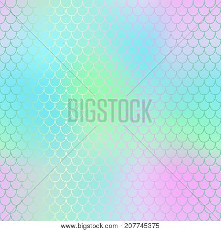Magic mermaid fishscale pattern. Abstract blurry vector background. Fantastic fish skin seamless pattern. Mermaid scale background. Pastel colors fish scale seamless tile. Blue pink blurred mesh