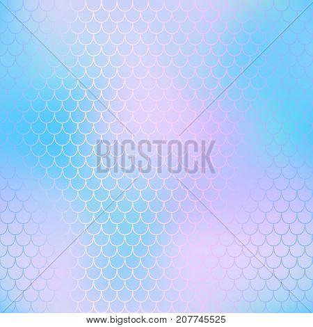 Magic mermaid fishscale pattern. Abstract blurry vector background. Fantastic fish skin seamless pattern. Mermaid scale background. Pastel colors fish scale seamless tile. Purple blue blurred mesh