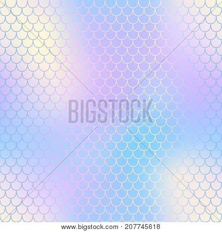 Magic mermaid fishscale pattern. Abstract blurry vector background. Fantastic fish skin seamless pattern. Mermaid scale background. Pastel colors fish scale seamless tile. Yellow violet blurred mesh
