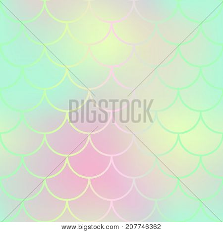 Mermaid skin or fish scale pattern. Pale green yellow gradient mesh. Abstract blurry vector background. Fantastic fish skin seamless pattern. Romantic mermaid scale background. Pastel color fish scale