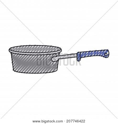 pan with handle colored crayon silhouette vector illustration