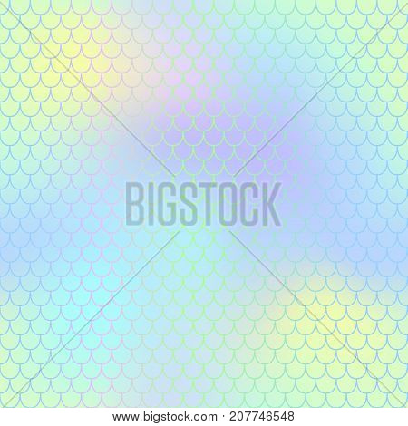 Mermaid skin or fish scale pattern. Green yellow blue gradient mesh. Abstract blurry vector background. Fantastic fish skin seamless pattern. Romantic mermaid scale background. Pastel color fish scale
