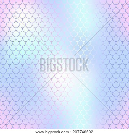 Mermaid skin or fish scale pattern. Pink mint blue gradient mesh. Abstract blurry vector background. Fantastic fish skin seamless pattern. Romantic mermaid scale background. Pastel colors fish scale