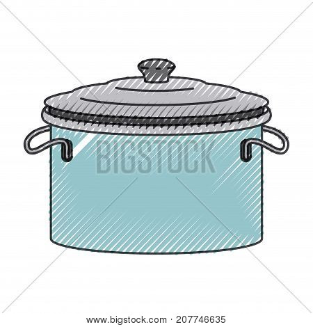 cooking pot with lid colored crayon silhouette vector illustration