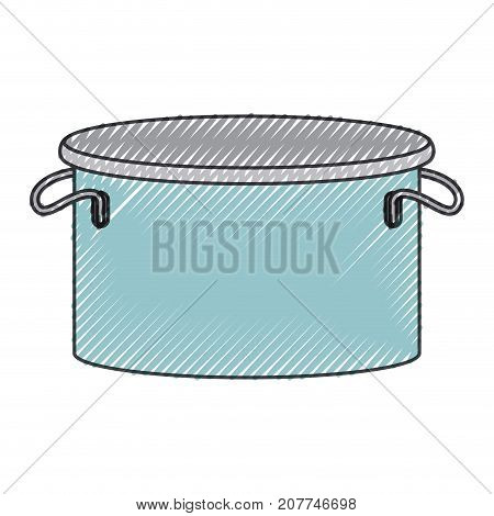 cooking pot utensil colored crayon silhouette vector illustration