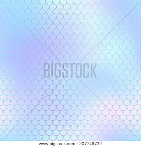 Mermaid skin or fish scale pattern. Pale violet cyan gradient mesh. Abstract blurry vector background. Fantastic fish skin seamless pattern. Romantic mermaid scale background. Pastel colors fish scale