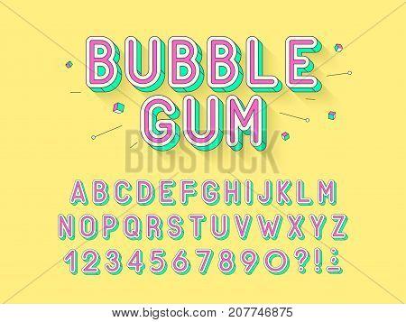 Vector retro Bubble gum bold font design alphabet typeface typography. Vector illustration