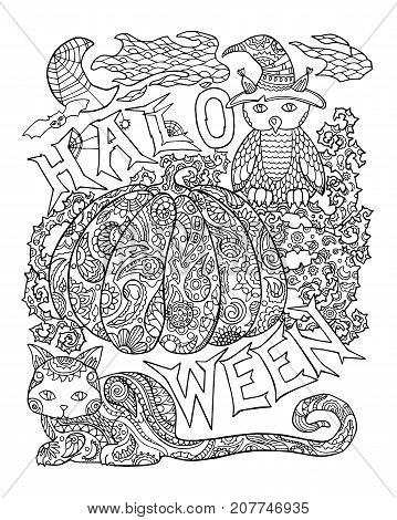 Halloween coloring page with pumpkin. Halloween vector illustration with owl cat spider. Outlined pumpkin with floral pattern. Creepy cute Halloween characters. Halloween pumpkin for adult coloring
