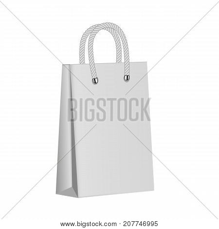 White paper package on a white background. Blank paper bag . Mock up. 3d
