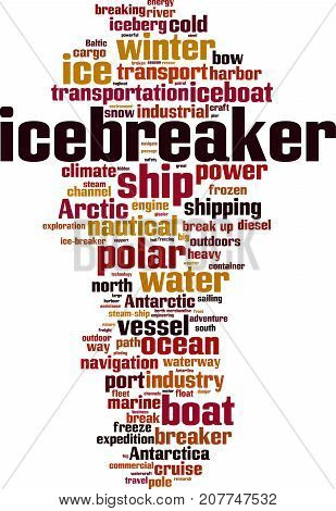 Icebreaker word cloud concept. Vector illustration on white