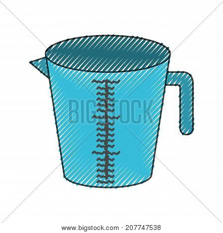 jar with handle and measure scale colored crayon silhouette vector illustration
