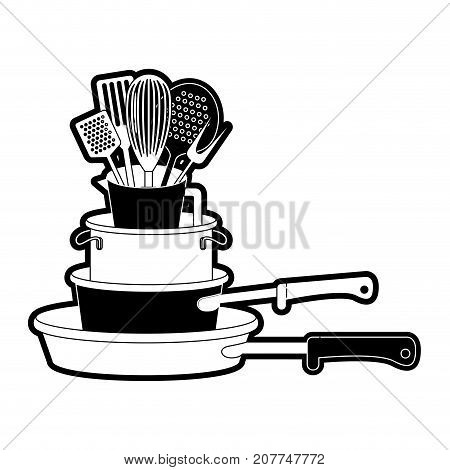 stewpan stack and kitchen utensils black silhouette vector illustration