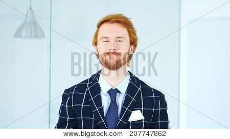 Yes Redhead Businessman Accepting Offer, Agree for Deal