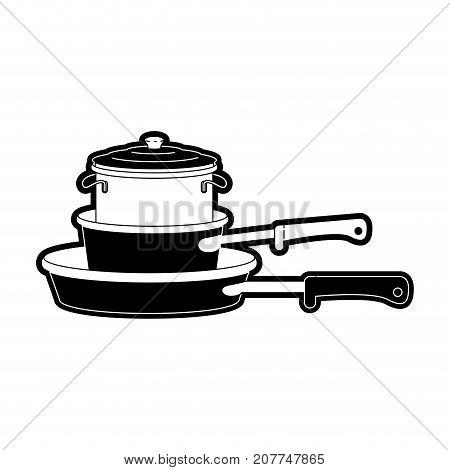 stewpan and cooking pot stack black silhouette vector illustration