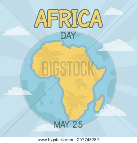 Africa Day, 25 May. Africa continent silhouette on Earth globe map conceptual illustration vector.
