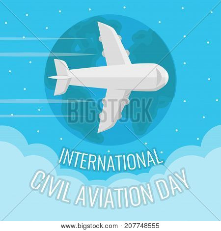 International Civil Aviation Day, 7 December. Flying airplane conceptual illustration vector.