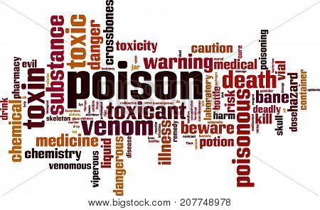 Poison word cloud concept. Vector illustration on white