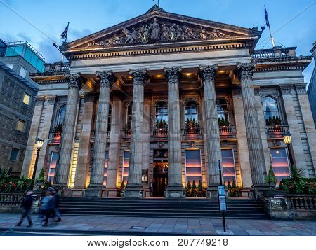 EDINBURGH, SCOTLAND - JULY 30: Outside the Dome Restaurant on July 30, 2017 in Edinburgh Scotland. The Dome Restaurant  is a famous Edinburgh restaurant and located in the New Town on George Street.