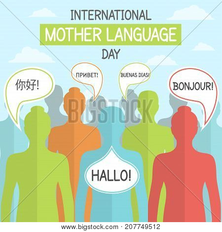 International Mother Language Day, 21 February. Diverse language greeting conceptual illustration vector.