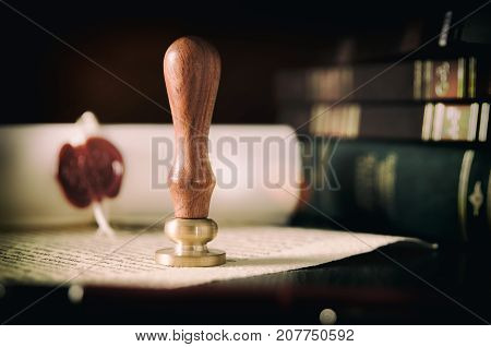 Notary Public, Attorney. Law Concept With Stamp In Courtroom