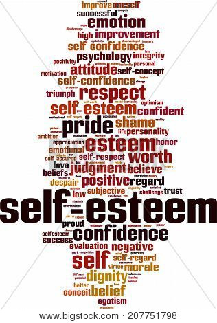 Self-esteem word cloud concept. Vector illustration on white
