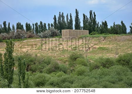 Chunche (in Uighur language) used for drying raisins built in high and windy nature area of Turpan in Xinjiang Uighur Autonomous Region of China.