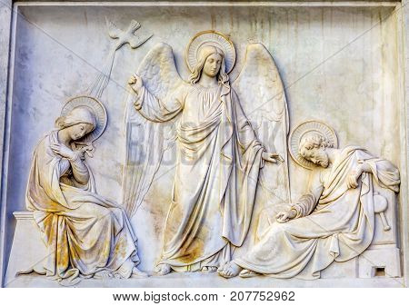 Virgin Mary Jesus Angel Statue Immaculate Conception Column Colonna dell Immocolata Rome Italy. 1854 Pope declares Virgin Mary without sin. Column created 1857 and December 8th Pope puts flower wreath on statue start of Christmas.