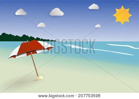 Beach papercut landscape vector seascape for summer summer vacation