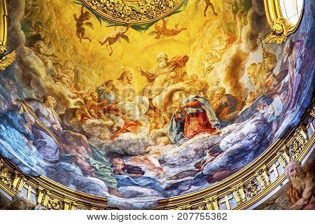 ROME, ITALY - JANUARY 20, 2917 Jesus God Father Fresco Ceiling Dome Santa Maria Maddalena Church Rome Italy. Church named for Saint Mary Magdalene built in the 16 and 1700s fresco by Carlos Fontana in 1700s
