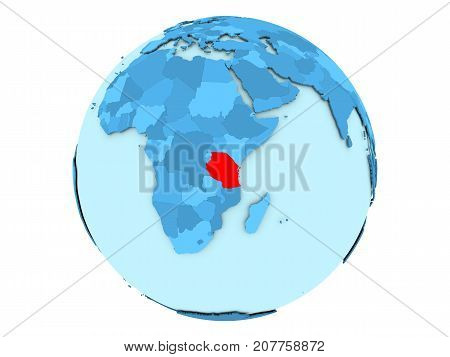 Tanzania On Blue Globe Isolated