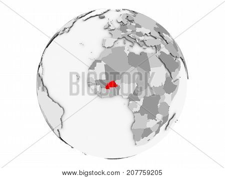 Burkina Faso On Grey Globe Isolated