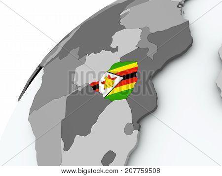 Flag Of Zimbabwe On Grey Globe