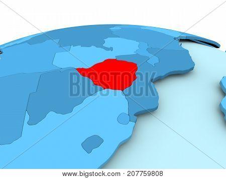 Zimbabwe On Blue Political Globe