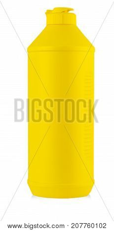 yellow plastic bottle with liquid laundry detergent cleaning agent bleach or fabric softener isolated on white background