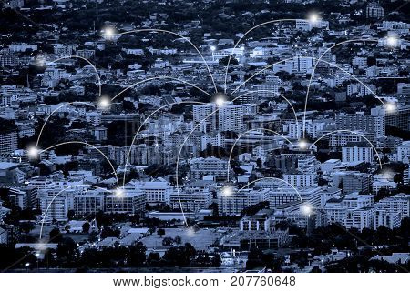City scape with network connection concept.Blue tone