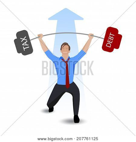 Businessman lifting heavy weight debt with tax