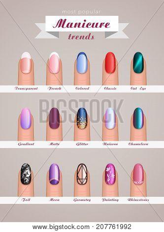 nail art fashion design trends vector template