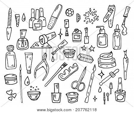 Nail Beauty Spa Manicure Vector Icon doodle sketch set