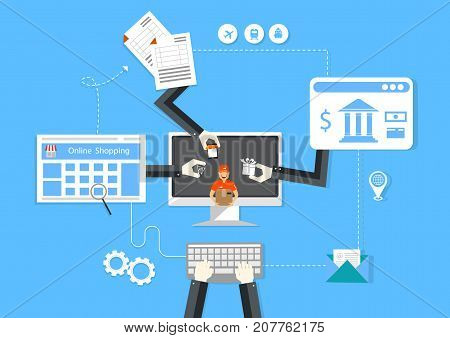 Online shopping outline concept of purchasing process in online store. Illustration