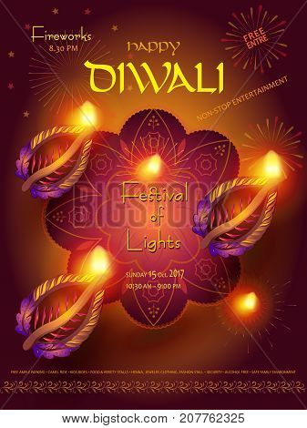 Happy Diwali lights festival poster with text and burning diya - oil lamps traditional symbol, fireworks, mandala decorative ornament, abstract festive background, light effect for Indian Diwali Holiday. Vector placard celebration