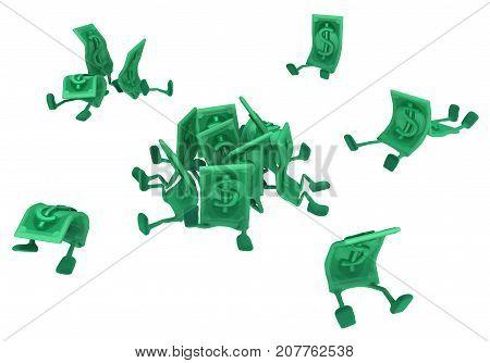 Dollar money symbol cartoon characters sitting 3d illustration horizontal isolated over white