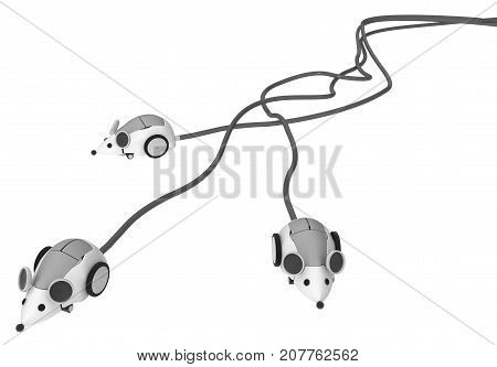 Robotic computer three mice long tails 3d illustration horizontal isolated