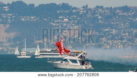 The USS Essex and the SF fire Boat opening air show in San Francisco Ca. on Oct.6 2017 in the bay area