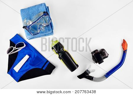 Swimming diving snorkeling aquatic equipment on white background