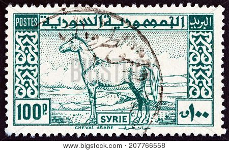 SYRIA - CIRCA 1946: A stamp printed in Syria shows Arab Horse, circa 1946.