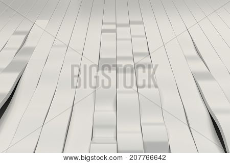 Abstract 3D Rendering Of White Sine Waves